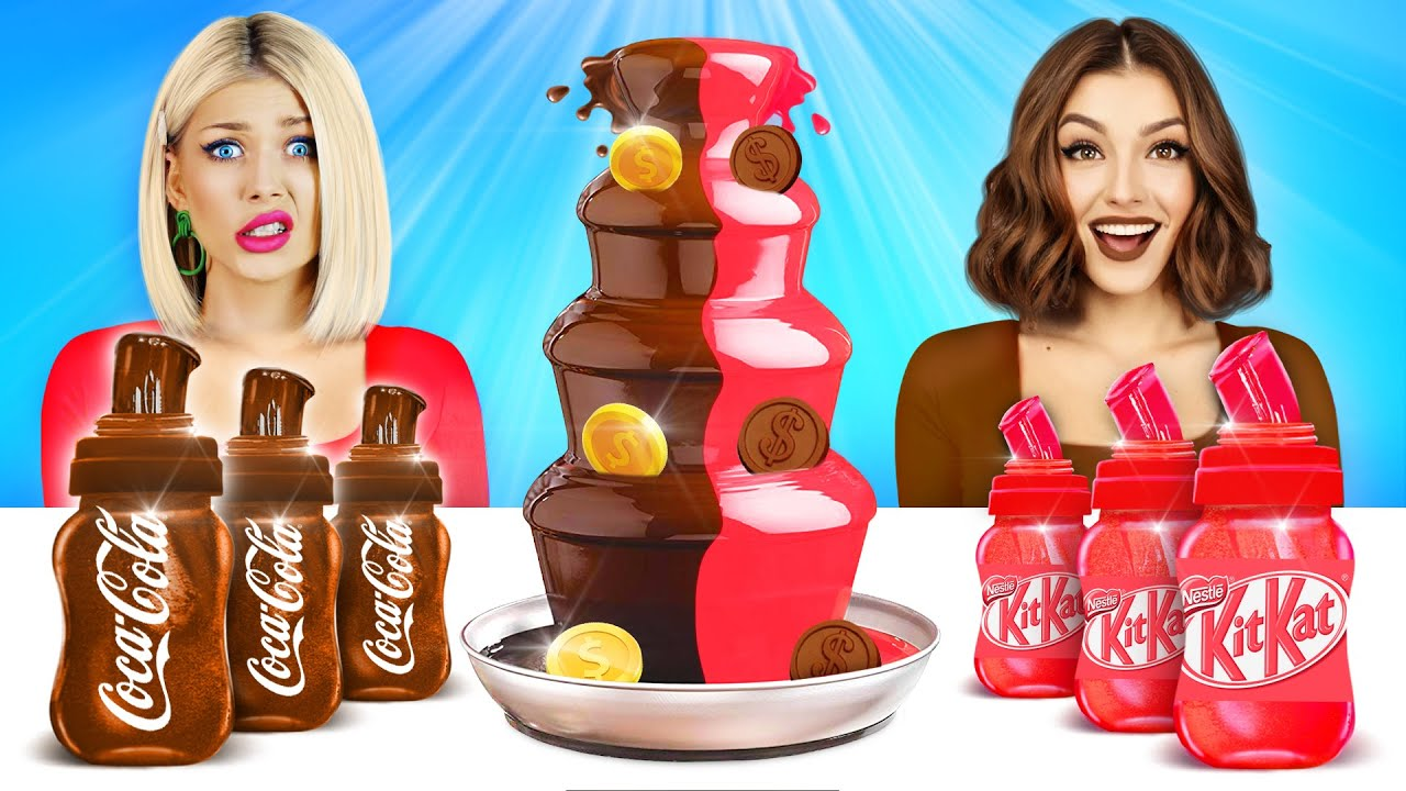 Download HONEY JELLY CHOCOLATE vs REAL FOOD CHALLENGE | Food War with Sweets for 24 HRS! Mukbang by RATATA