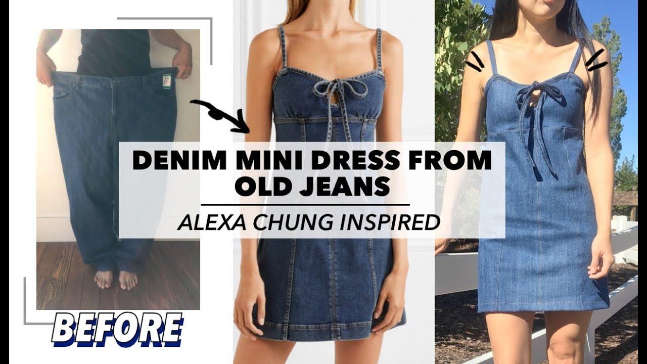 3bb7db46c76 Refashion Denim Mini Dress From Old Jeans (Alexa Chung Inspired ...