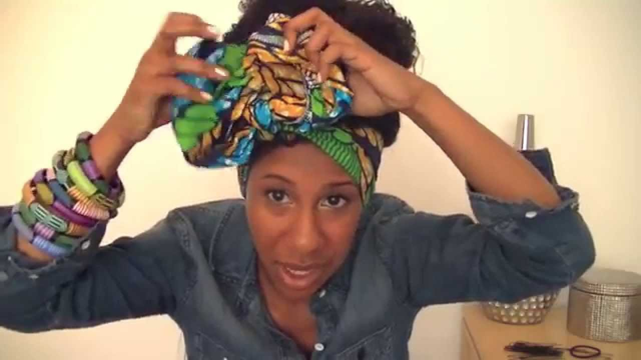 Naturally Curly Hair Bun Amp African Hair Wrap Youtube