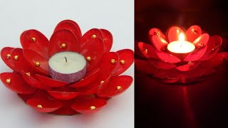 Diwali home decoration ideas/How to decorate diwali candles from plastic spoons/diya decoration idea