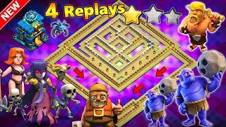 NEW TH12 WAR BASE 2018 ANTI 2 STAR With 4 Replays Anti Everything BoWitch,Miner,Anti Queen Walk