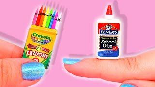 DIY: Realistic Miniature School Supplies (Crayons, Glue, Notebook, etc)
