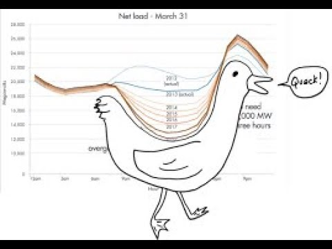 Tesla Duck electricity curve, JB Straubel cto, batteries beat gas/coal plant peaker solutions.