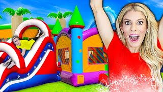 TRANSFORMING My BACKYARD into a Giant WATERPARK For 24 HOURS! Game Master challenge | Rebecca Zamolo