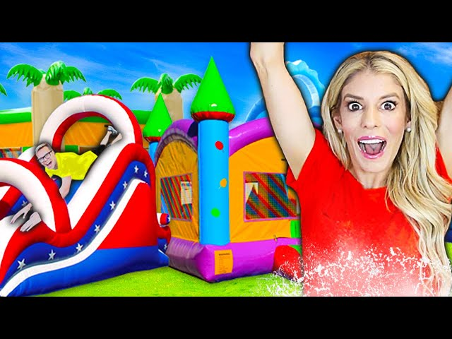 TRANSFORMING My BACKYARD into a Giant WATERPARK For 24 HOURS! Game Master challenge   Rebecca Zamolo