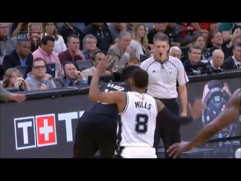 Patty Mills with the ridiculous flop guarding James Harden