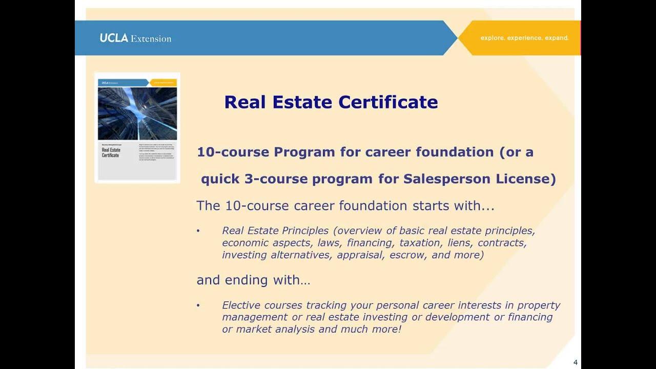 Real Estate Certificate Program Info Session Youtube