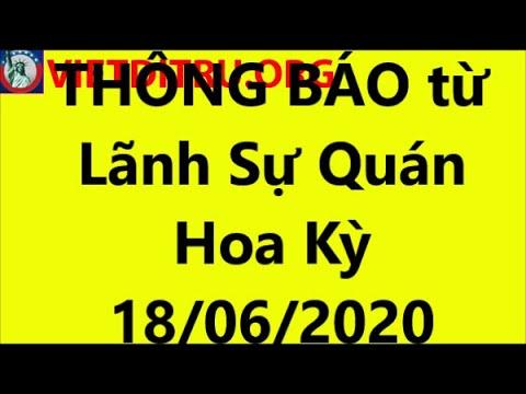 THÔNG BÁO từ Lãnh Sự Quán Hoa Kỳ tại Việt Nam ngày 18/06/2020 !!!