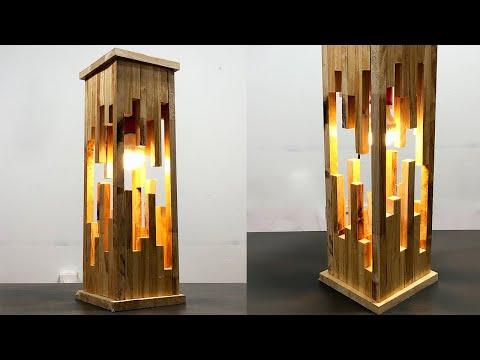 Make a modern wood lamp from pallets – creativity crafts idea