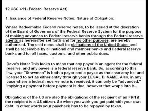 Federal Reserve Notes Only Receivable by Federal Reserve Banks  Your Legal  Name is a BANK