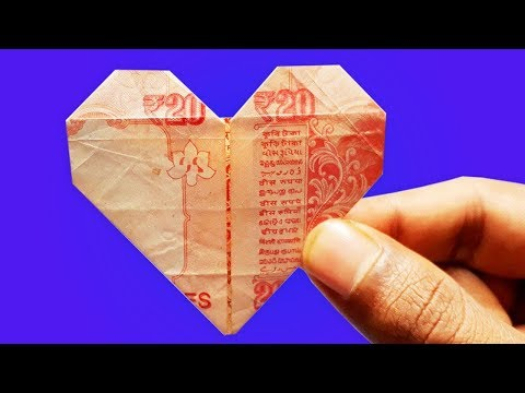 Origami note  Heart & Star Tutorial - How to make a Dollar heart with star