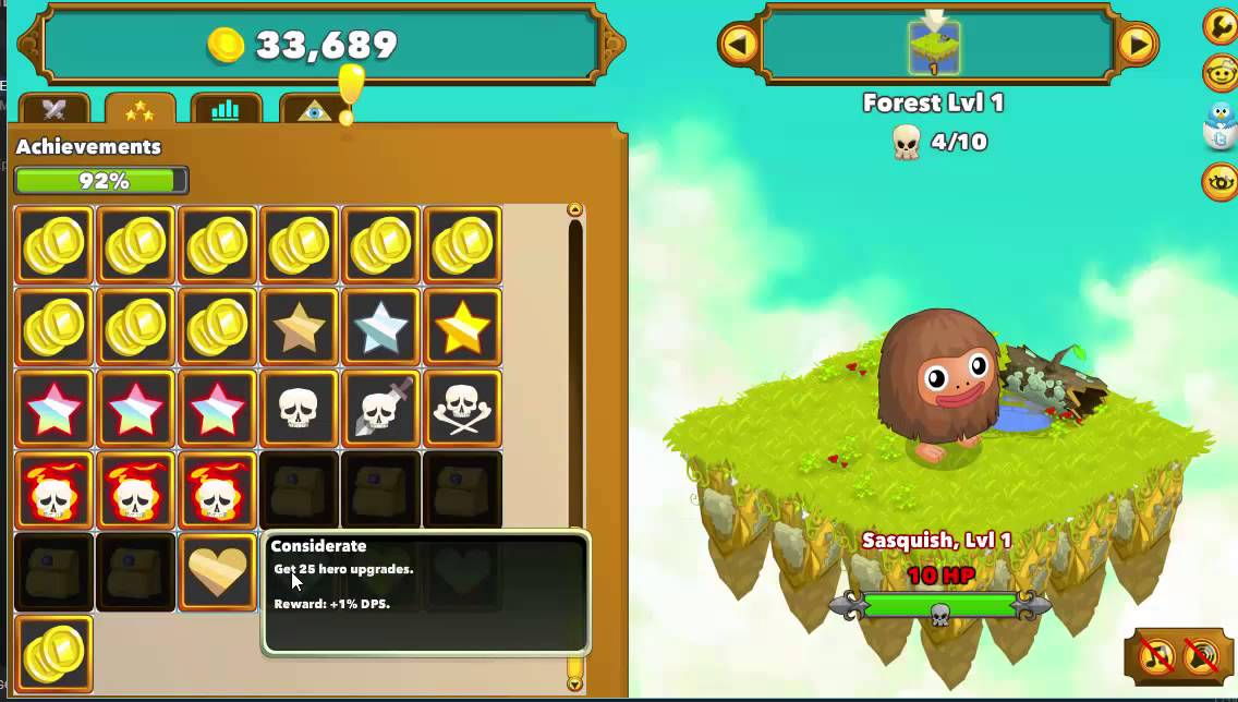 clicker heroes achievements