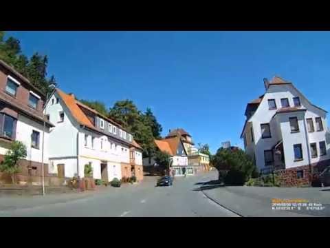 D: Stadt Frankenberg (Eder).  Landkreis Waldeck-Frankenberg. Fahrt durch die Stadt. August 2016