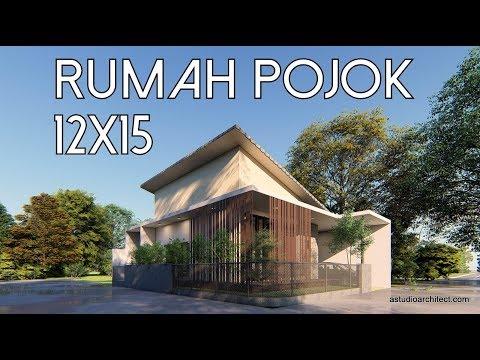 Desain Rumah Pojok 12x15 [kode 042]
