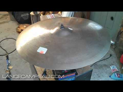 "Polishing the old 24"" Zildjian A cymbal"