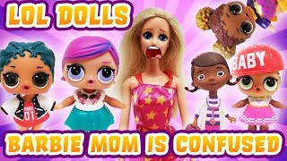 LOL Surprise Dolls Swap Heads! Barbie Mom Takes Them to Doc McStuffins