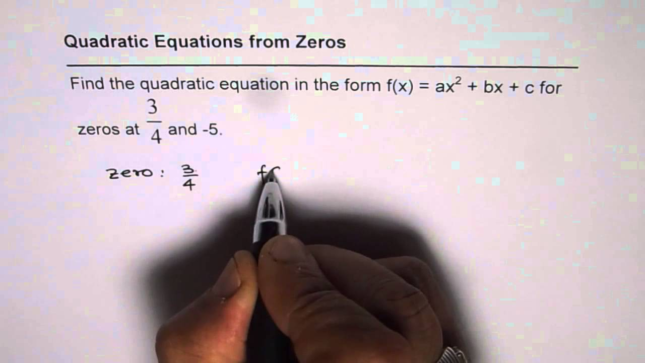 quadratic function with zeros calculator