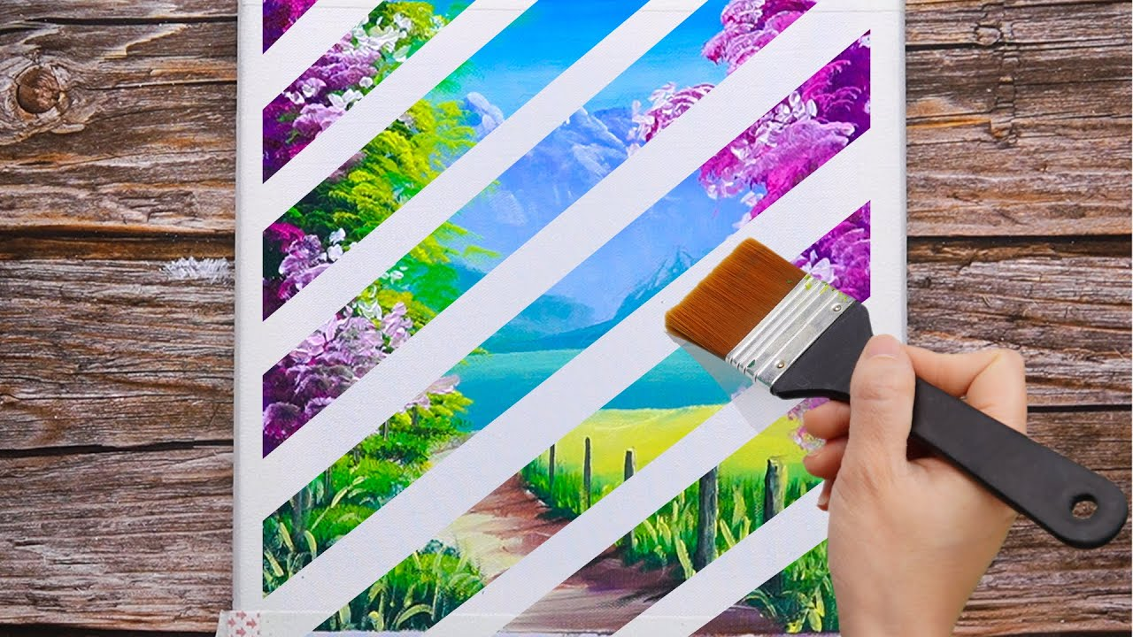 Painting Technique #40 | Cherry Blossom Mountain Range | Easy Masking Tape Satisfying