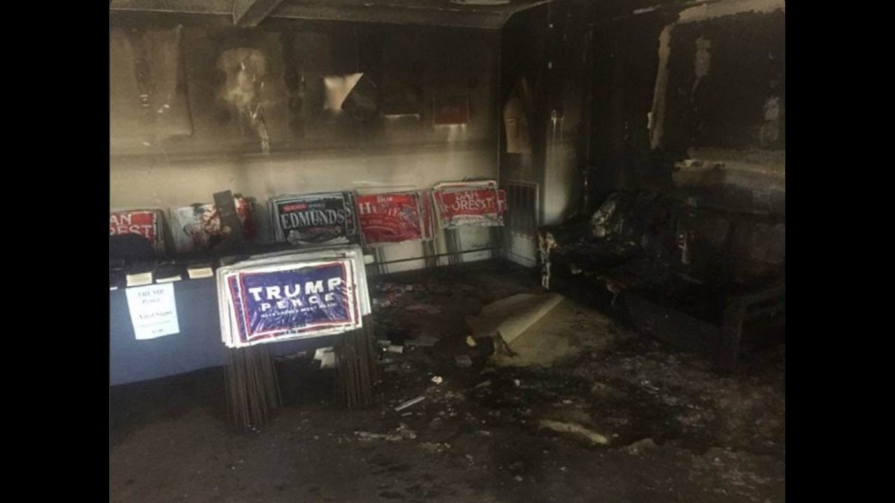 Download Trump Blames 'Animal' Democrats & Hillary After GOP Office Is Vandalized