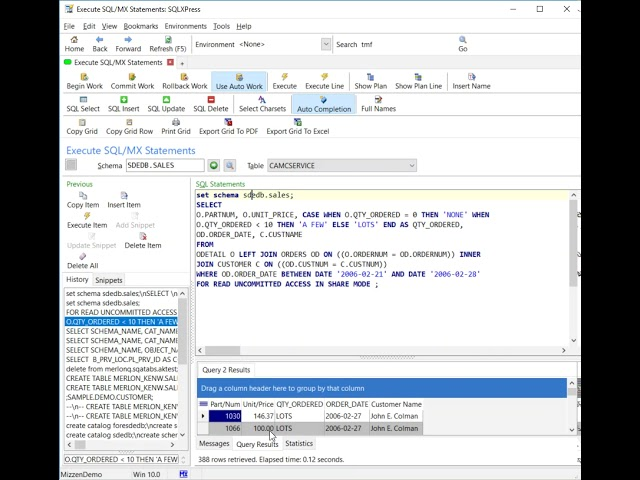 Merlon SQLXPress Executing SQL Statements