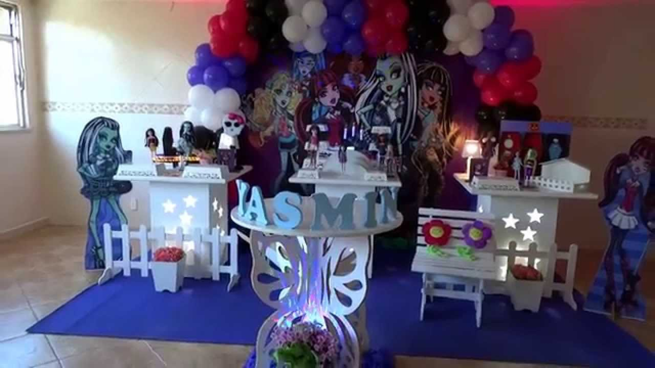 Decoracao Yotube ~ Monster High decoraç u00e3o provençal para festa de aniversário infantil YouTube
