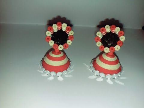 Quilling jhumka and mirror earrings tutorial by z quilling creations