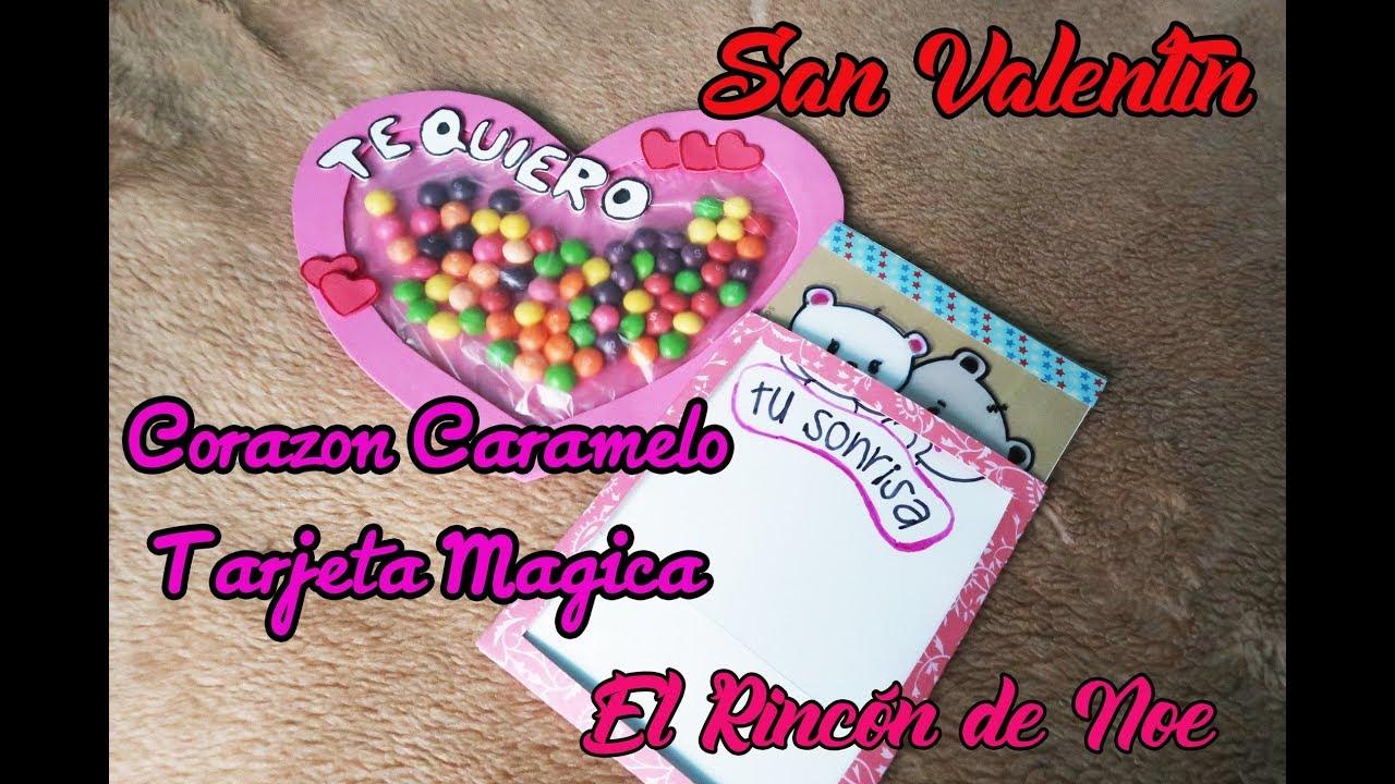 Como hacer tarjeta mágica y corazón de caramelos para San Valentin ...