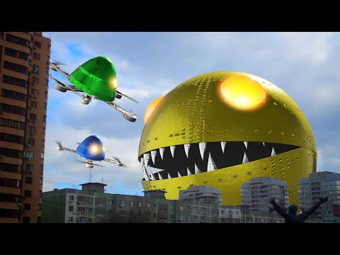 Monster Pacman Vs Robot Ghosts