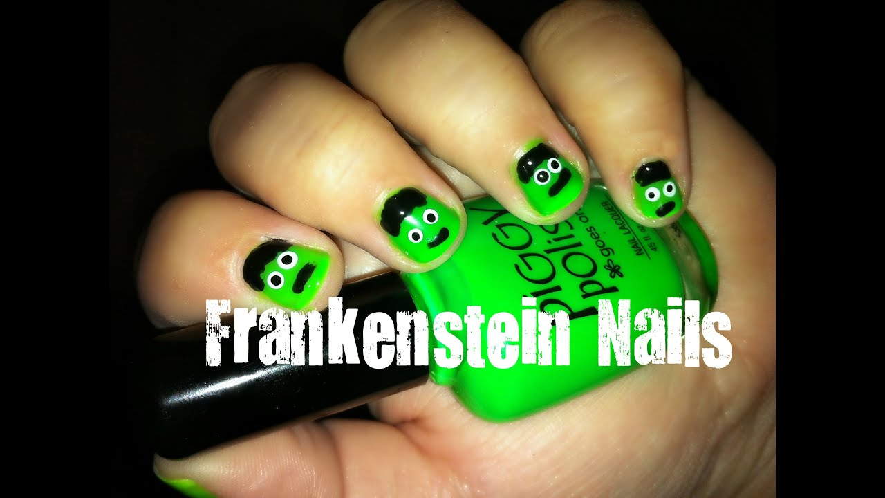 How to Paint Easy Simple Frankenstein Halloween Nail Art - YouTube
