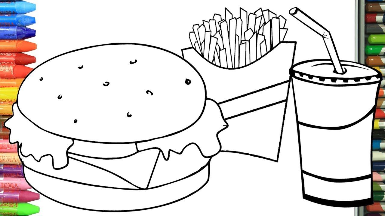 Cmo Dibujar y Colorear men de hamburguesas | Dibujos ...