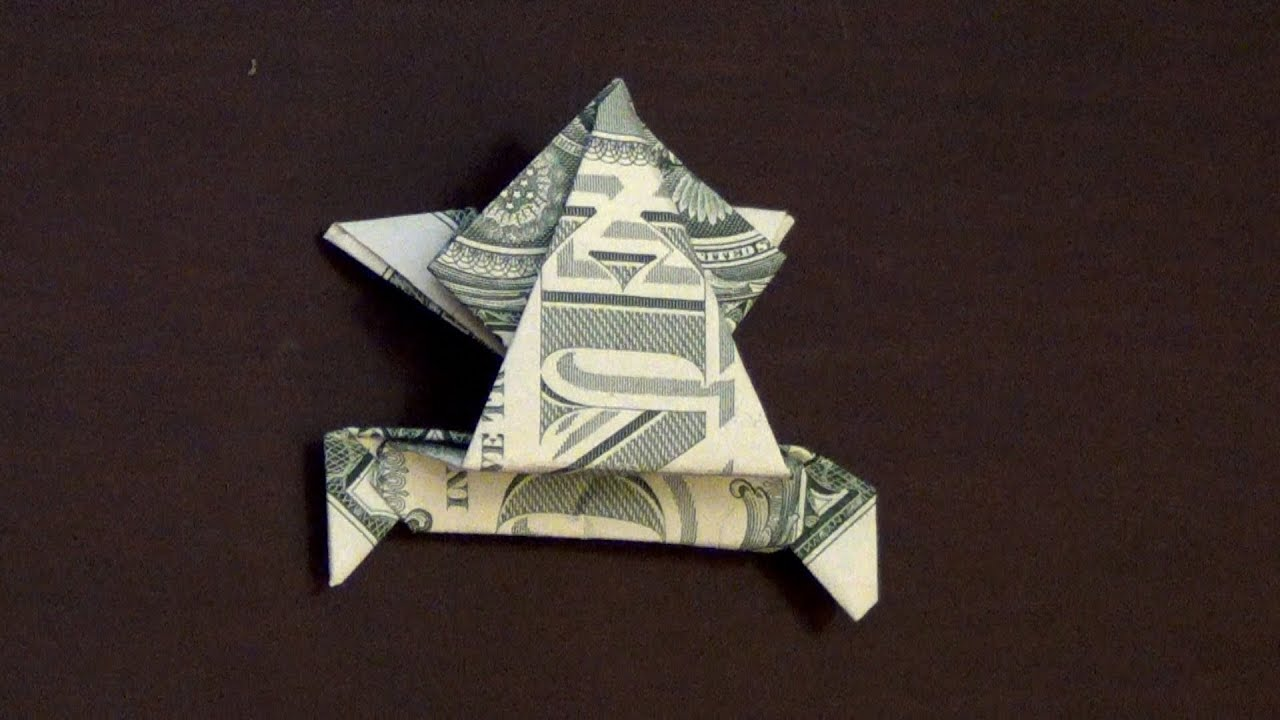 Easy money origami frog tutorial origami handmade dollar origami jumping frog tutorial how to make a jeuxipadfo Images