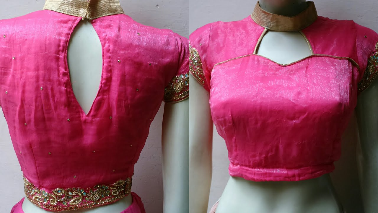 Stand Collar Blouse Designs : Designer blouse with high standing collar neck cutting and