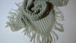 Шикарная шаль спицами сетка с бахромой для начинающих