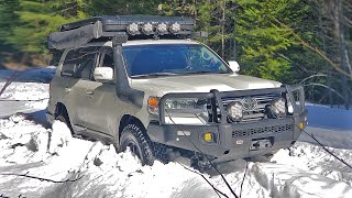WINTER DRIVING: STUCK in DEEP SNOW - Land Cruiser Solo Recovery