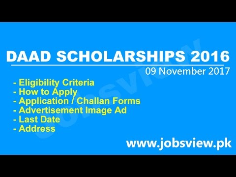 DAAD UG PG Phd Germany Scholarships 2016 2017 Apply Online Application Form JobsView.pk