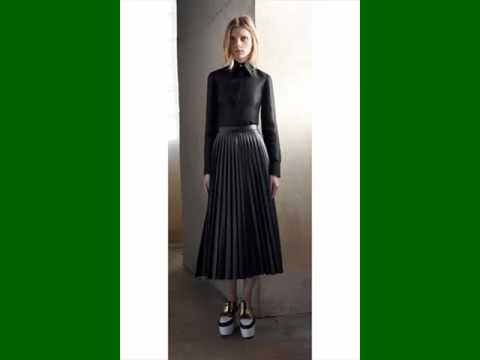 Leather Pleated Midi Skirt Picture Collection Set | Leather ...