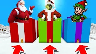 Minecraft PE : DO NOT CHOOSE THE WRONG PRESENT! (Santa, Grinch & Elf)