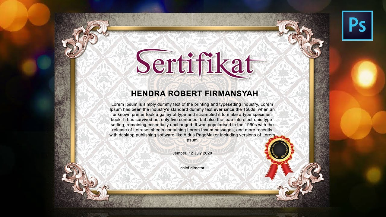 Cara Membuat desain sertifikat - How to create certificate ...