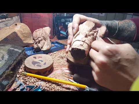 Carving a Wooden Gimli Smoking Pipe. The Art of Sculpture