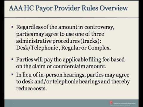 AAA Healthcare Payor Provider Arbitration Rules