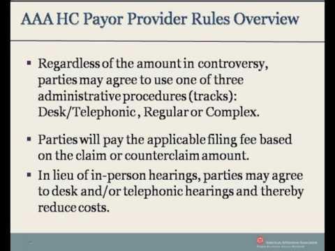 AAA Healthcare Payor Provider Arbitration Rules