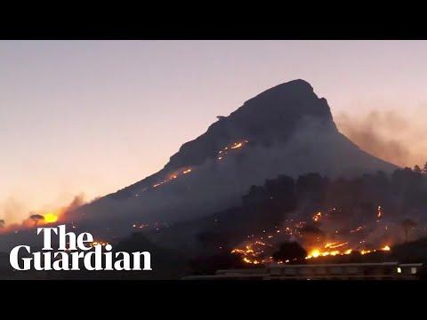 Wildfire roars across Lion's Head mountain in Cape Town