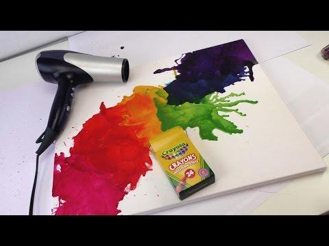 Wachsmalkreide schmelzen - Crayon melt - Bild mit Fön und Wachsmalkreide / Bilder gestalten