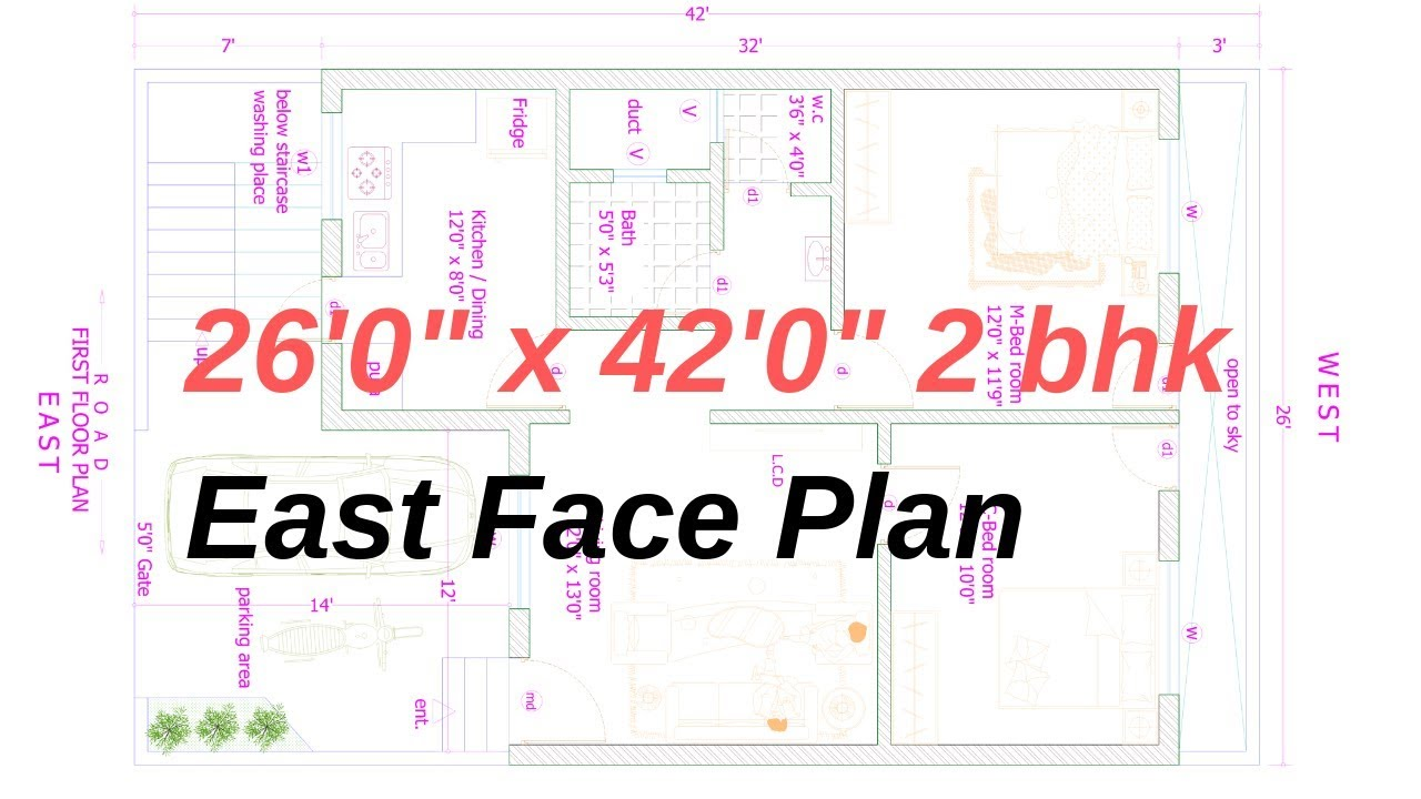 26' X 42'  2BHK ( East face ) Plan Explain in Hindi