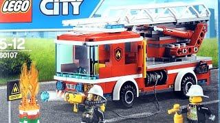 LEGO City Fire Ladder Truck 60107 - Lego Fire Engine Truck Burning Oil Barrel - Lego Speed Build