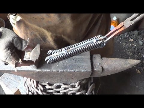 Blacksmithing - Forge Welding A Billet Of Coil Springs and O1