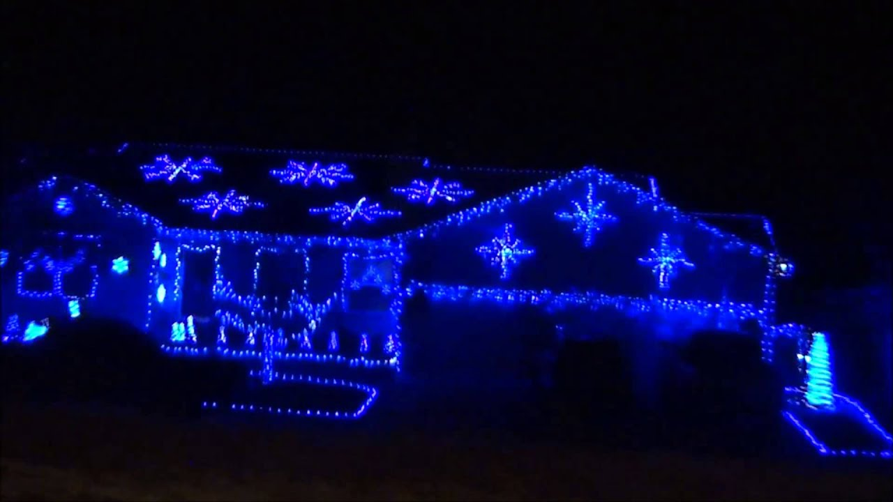 blue christmas lights house in grand junction