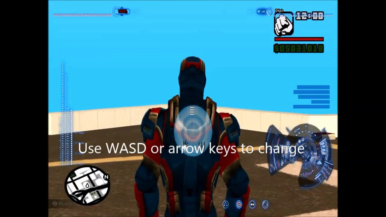 GTA San Andreas Iron man mod controls