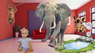 Зоопарк В КВАРТИРЕ😱Учим животных. Это вам не купания! Влог: Семья на каникулах! Learn animals