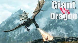 Skyrim - Gameplay Giant Vs Dragon